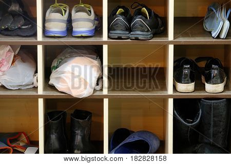 Shoes on a shelf