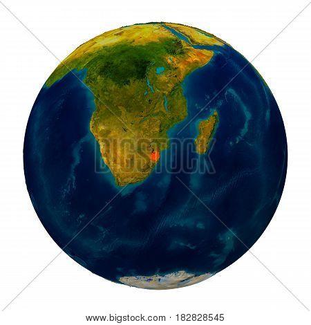 Swaziland Highlighted On Globe