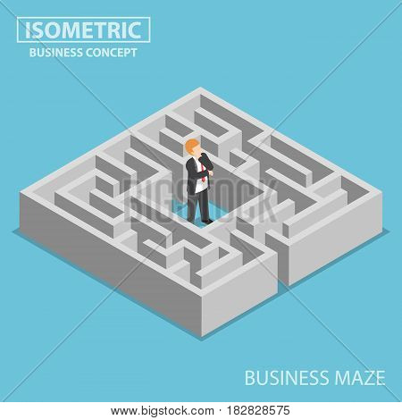 Isometric Confused Businessman Stuck In A Maze