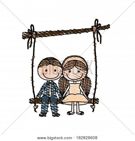 color pencil drawing of caricature guy in formal suit and girl with pigtails hairstyle sit in swing hanging from a branch vector illustration