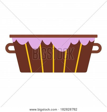 Wooden bucket with foam icon flat isolated on white background vector illustration