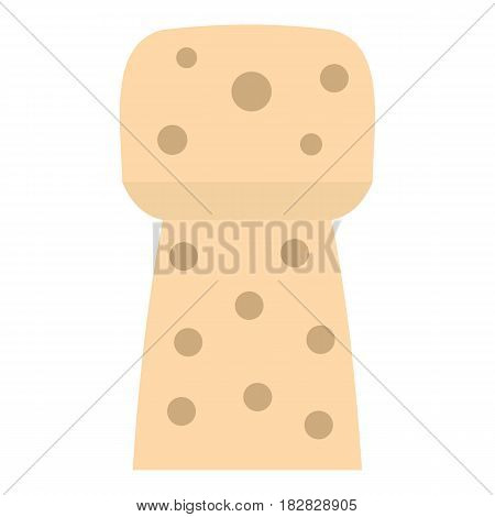 Wine wooden cork icon flat isolated on white background vector illustration