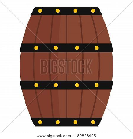 Wine wooden barrel icon flat isolated on white background vector illustration