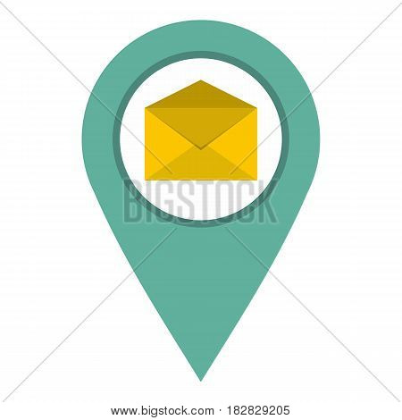 Geo tag mail icon flat isolated on white background vector illustration