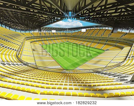 Modern Football Stadium With Yellow Seats For Fifty Thousand Fans - 3D Render