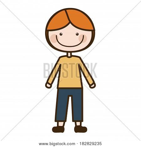 color silhouette cartoon blonded boy with coat and shorts vector illustration