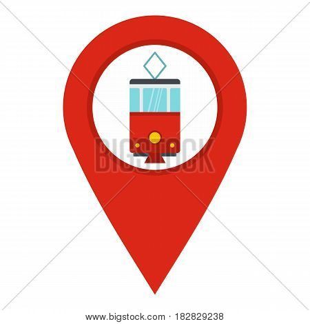 Red map pointer with tram symbol icon flat isolated on white background vector illustration