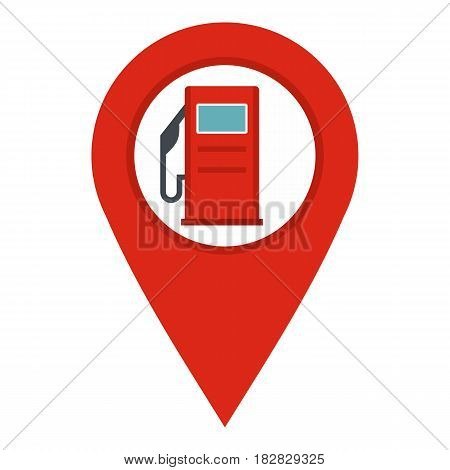 Red map pin with gas station sign icon flat isolated on white background vector illustration