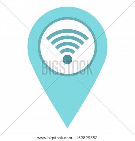 Light blue map pointer with wi fi symbol icon flat isolated on white background vector illustration