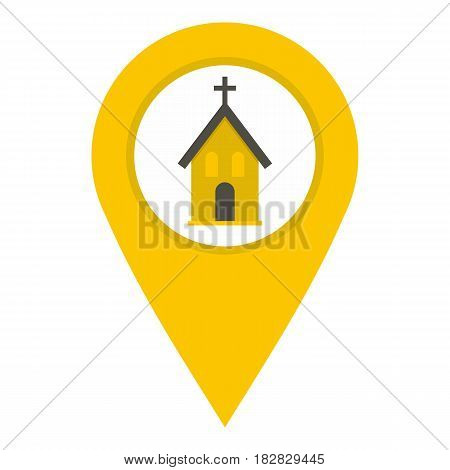 Yellow map pointer with church, cathedral or temple sign icon flat isolated on white background vector illustration
