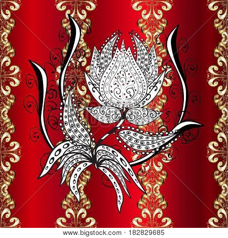 Vector illustration. Damask golden floral pattern on a red background with white doodles. Ornate decoration.