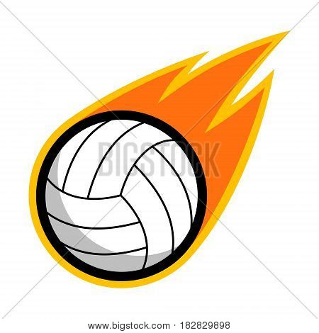 Volleyball leather sport comet fire tail flying logo