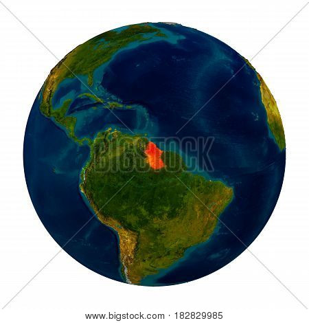 Guyana Highlighted On Globe