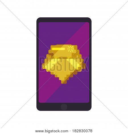 Diamond Pixelated videogame icon vector illustration graphic design