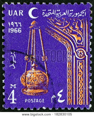 EGYPT - CIRCA 1966: a stamp printed in Egypt shows Lamp and Arch circa 1966