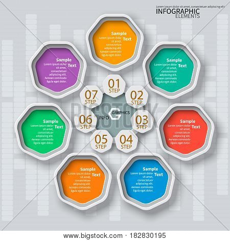 vector abstract 3d paper infographic elements.Heptagon infographics
