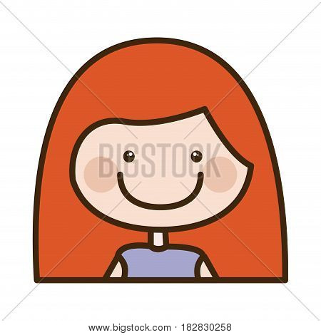 color silhouette cartoon half body girl with red long hair vector illustration
