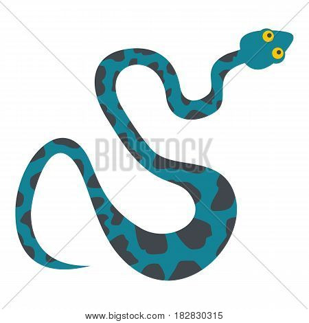 Blue snake with spots icon flat isolated on white background vector illustration