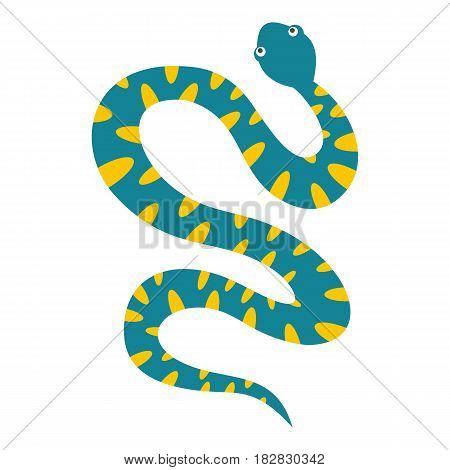 Blue snake with yellow spots icon flat isolated on white background vector illustration
