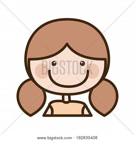 color silhouette cartoon half body girl with brown pigtails hair vector illustration
