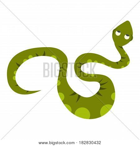 Green spotted snake icon flat isolated on white background vector illustration