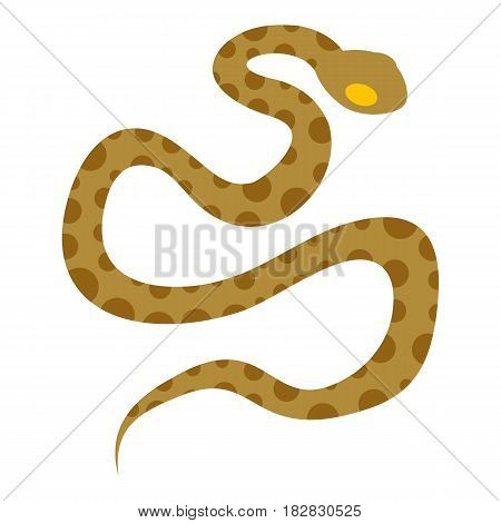 Brown spotted snake icon flat isolated on white background vector illustration