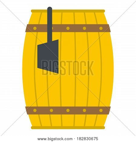 Wooden barrel with ladle icon flat isolated on white background vector illustration