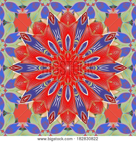 Bag design. Hand-drawn vector mandala with colored abstract pattern on a background.
