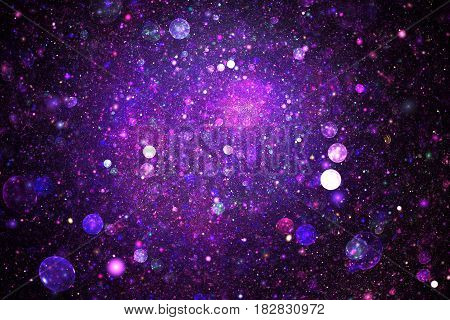 Bright Galaxy. Abstract Blue And Purple Sparkles On Black Background. Fantasy Fractal Texture. Digit