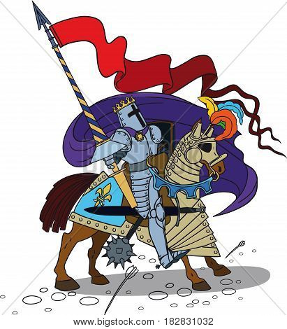 Brave Horse Knight with a spear and shield in full armor