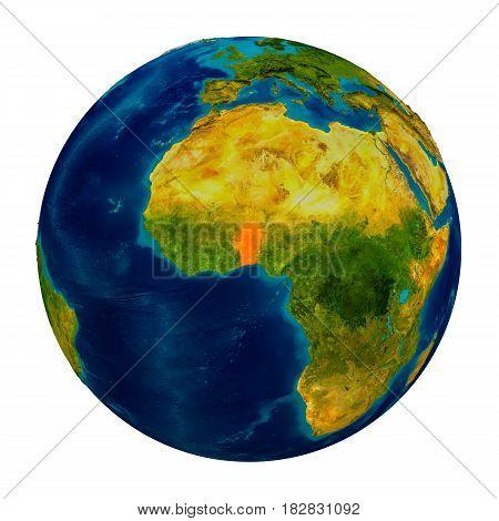 Benin Highlighted On Globe