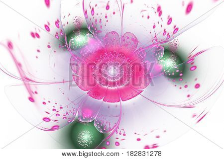 Abstract Exotic Flower With Glowing Sparkles On White Background. Fantasy Fractal Design In Green An