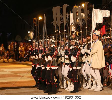 Marostica, Vi, Italy - September 9, 2016 Characters In Costume With Halbard And Flags