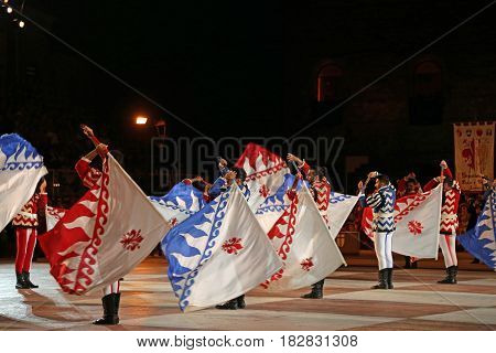 Marostica, Vi, Italy - September 9, 2016: Flag Waver During A Live Show In The Main Square Called Pi