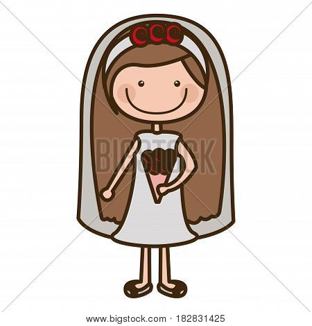 color silhouette cartoon woman in wedding dress with long hairstyle vector illustration
