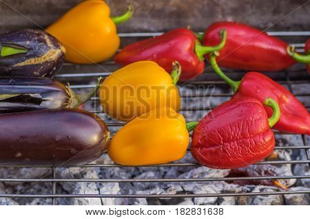 Vegetables fried on the grill outdoors .