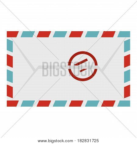 Postage envelope with stamp icon flat isolated on white background vector illustration