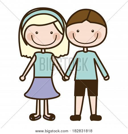 color silhouette cartoon couple in suit informal with taken hands vector illustration