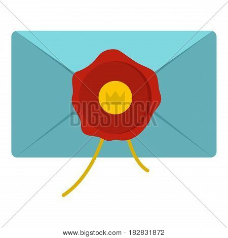 Blue envelope with red wax seal icon flat isolated on white background vector illustration