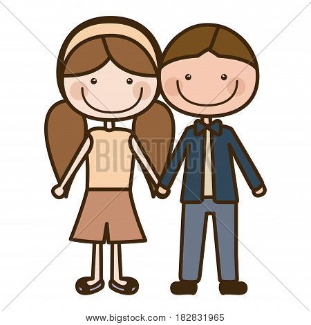 color silhouette cartoon brown boy hair and girl pigtails hairstyle with taken hands vector illustration