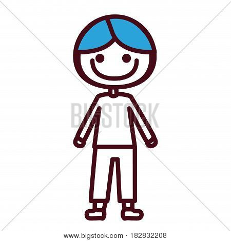 hand drawing silhouette boy with coat and shorts and blue hair vector illustration