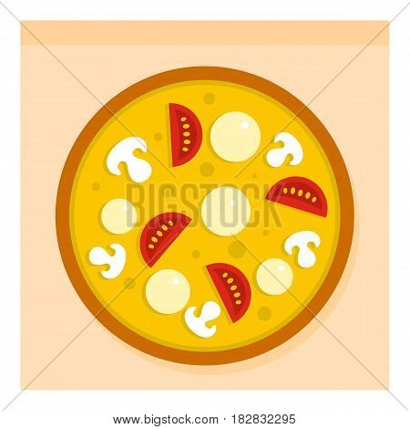 Pizza with sausages, tomatoes and mushrooms icon flat isolated on white background vector illustration