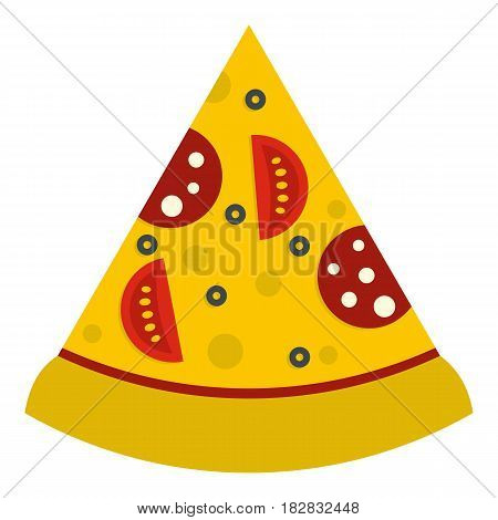 Slice of pizza with sausage and tomatoes icon flat isolated on white background vector illustration