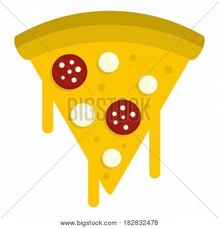 Tasty slice of pizza with salami and melted cheese icon flat isolated on white background vector illustration