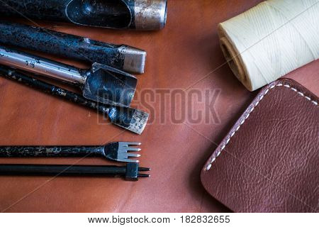 Leather Background Of Wallet Production Tool