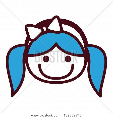 hand drawing silhouette front face girl with blue pigtails hairstyle and bow lace vector illustration