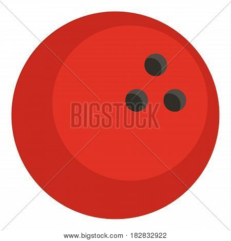 Red marbled bowling ball icon flat isolated on white background vector illustration