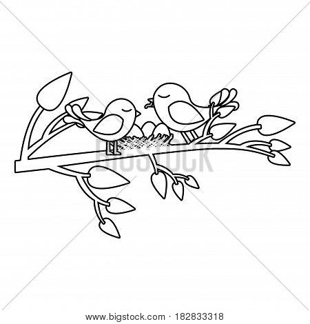monochrome silhouette of birds and nest in tree branch vector illustration