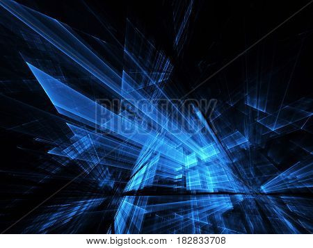 Computer generated abstract technology image. Three-dimensional fractal texture, 3D illustration