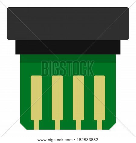 Electronic circuit board icon flat isolated on white background vector illustration